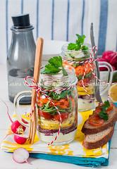 Rainbow Picnic Salad in a Mason Jar
