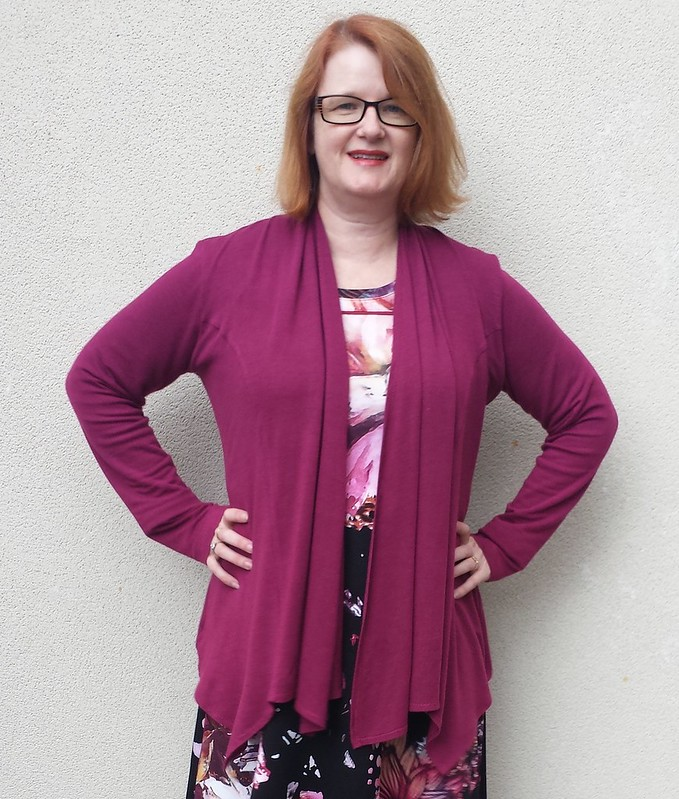 Swoon Patterns Scarf-Neck Cardi in wool blend knit from Super Cheap Fabrics, Brunswick