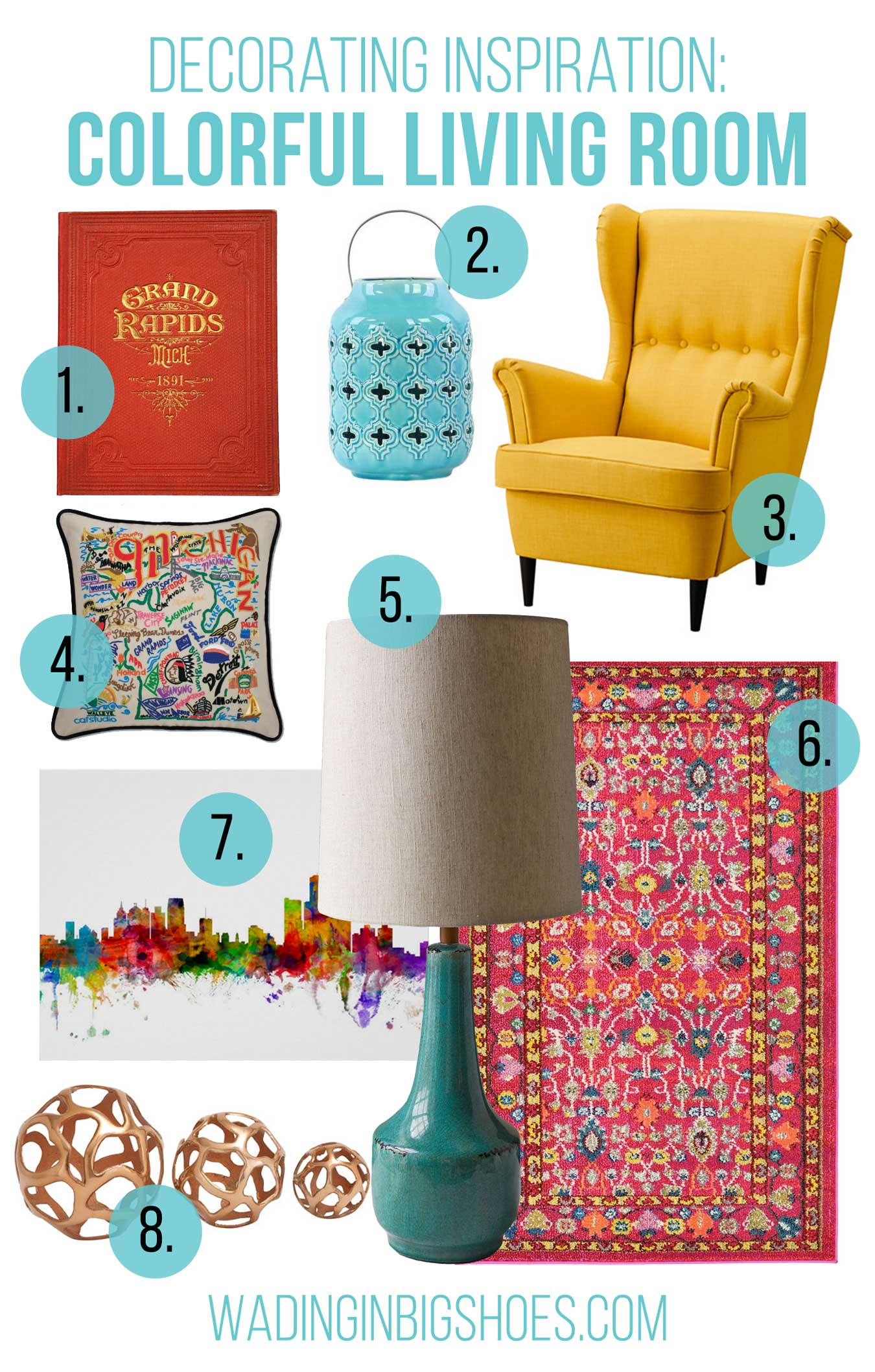 Decorating Inspiration: Colorful Living Room Ideas (via Wading in Big Shoes)