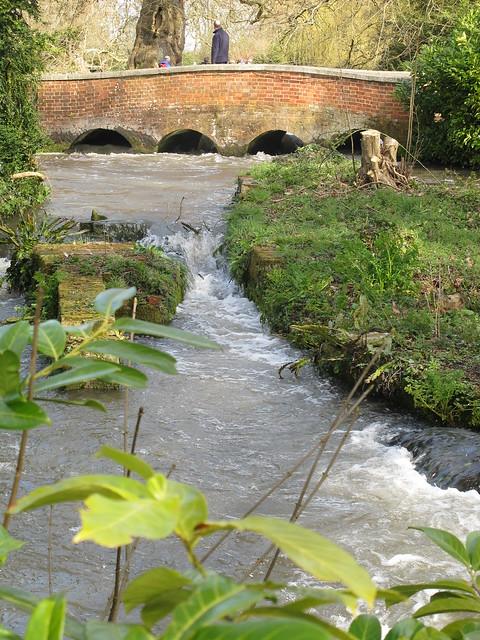 Bridge over Test River in grounds of Mottisfont Abbey Gardens, from street outside gardens