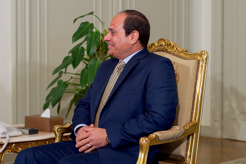 Egyptian President al-Sisi Meets With Secretary Kerry at the Presidential Palace in Cairo