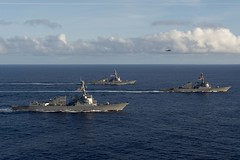 In this file photo, USS Spruance (DDG 111), USS Decatur (DDG 73) and USS Momsen (DDG 92) steam in formation in the Pacific in April. (U.S. Navy/MC2 Will Gaskill)