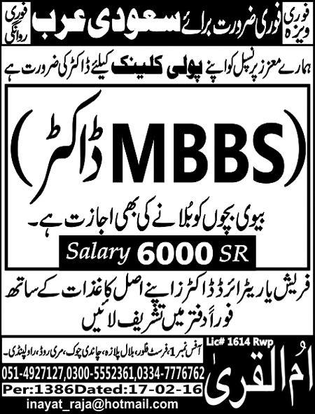 MBBS Doctor in Saudi Arabia Jobs 2016