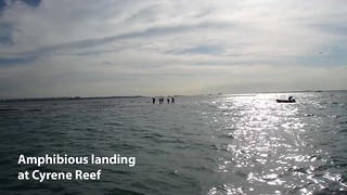 Shore explorers do amphibious landing at Cyrene Reef