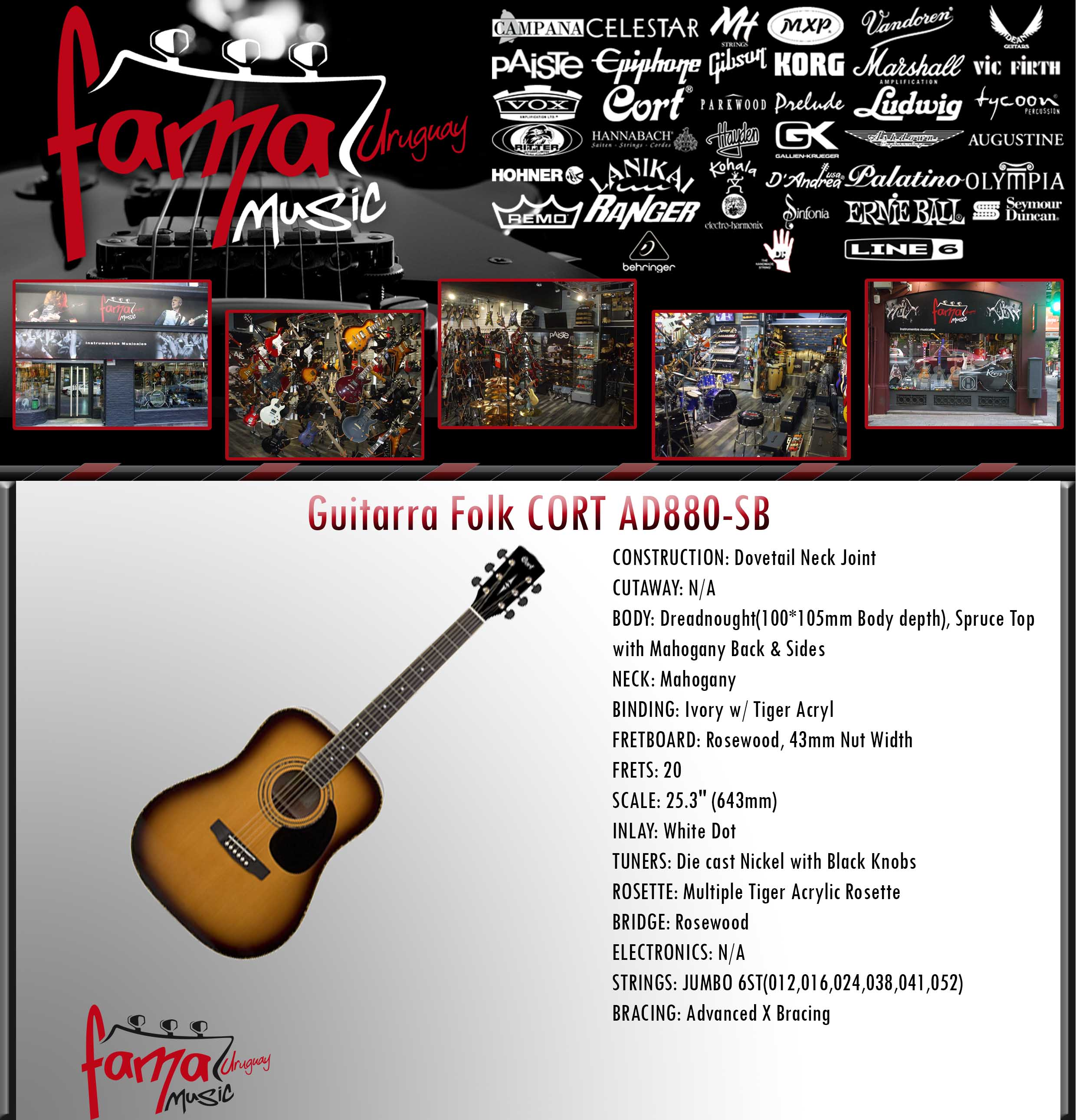Guitarra Folk CORT AD880-SB