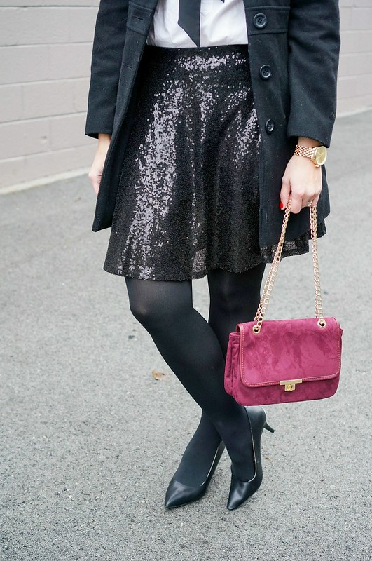 Target sequin skirt, white shirt, black bow tie, New Year's Eve dressy outfit
