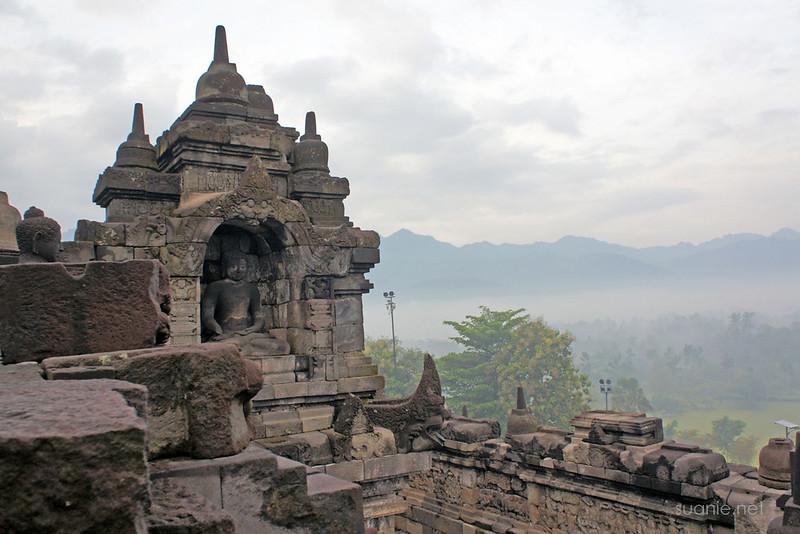 Borobudur, Yogyakarta - overlooks Mount Merapi range