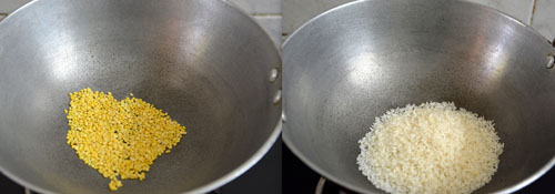 roasting dal and rice