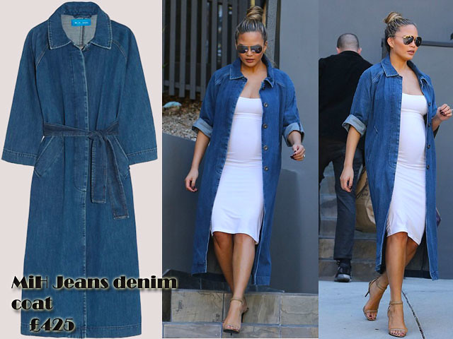 MiH-Jeans-denim-coat-with-white-midi-dress,MiH Jeans denim coat, yummy mummy to be style, bodycon dress, white clinging midi, white midi length dress, white bodycon dress, denim coat, jeans coat, pregnant style, bump style