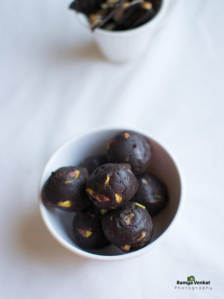 chocolate pistachio fudge balls