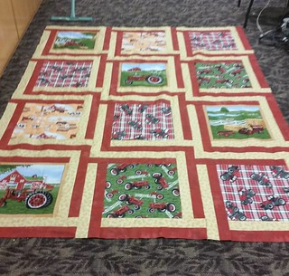 The Case IH quilt top is done.