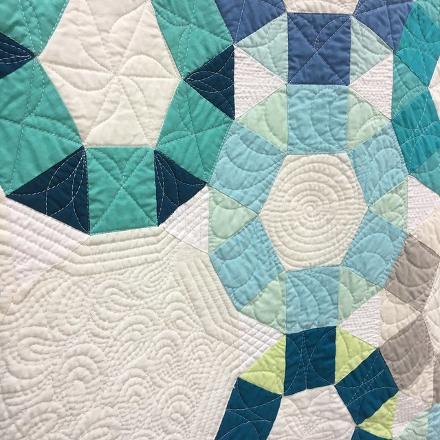"close up of ""Cog"" by Emily Cier of Seattle, Washington.  Quilted by Angela Walters."