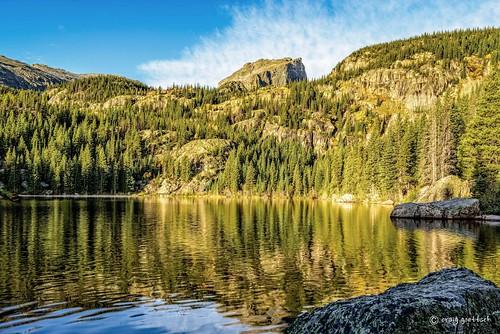 trees lake reflection nature forest landscape morninglight nikon colorado rockymountainnationalpark bearlake d810