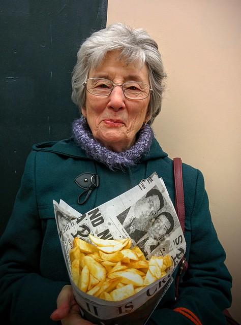 Mum eating chips