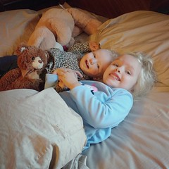When Claire wakes up in the morning, Nora almost always comes upstairs with me to have a cuddle pile in my bed. Claire is always so happy to see her. I know they will have their issues, but I love to see how crazy they are about each other right now. :hea