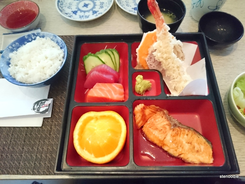 Bento Box B: Tempura, Salmon Teriyaki, 4 Pcs of Sashimi
