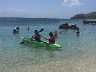 Cockleshell Bay beach offers water sports from kayaking to snorkeling and flyboarding