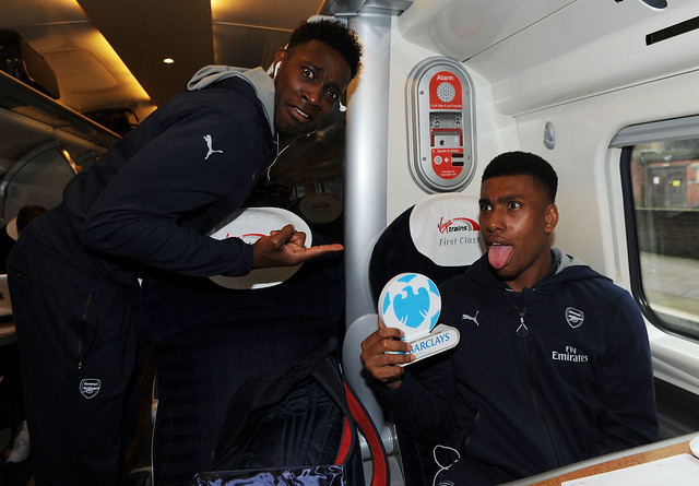 Danny Welbeck with Man Of The Match Alex Iwobi