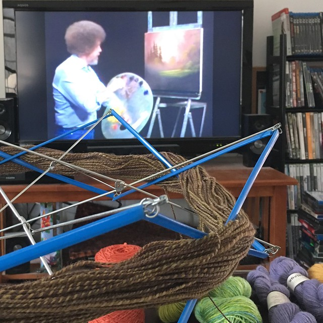 Winding yarn, watching Bob Ross