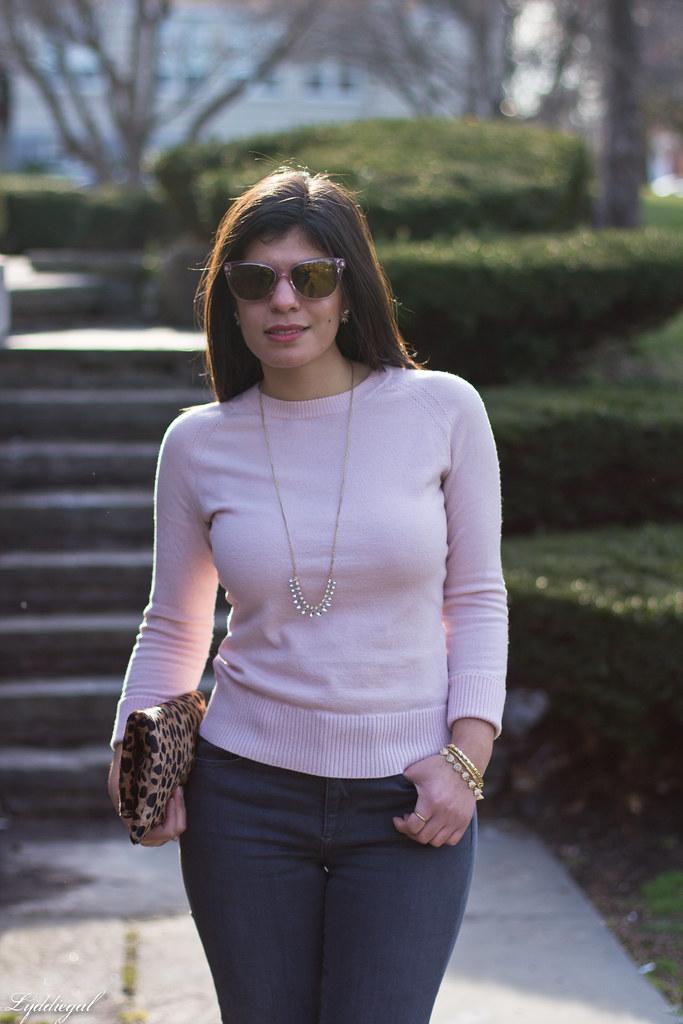 pink sweater, grey jeans, leopard clutch, black boots-1.jpg