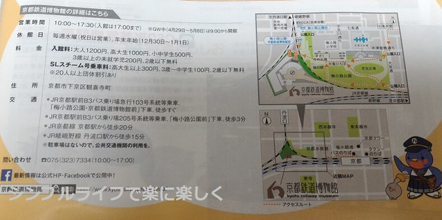 とことことん2016春号、京都鉄道博物館・アクセス