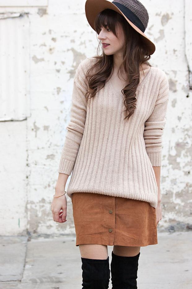 Tan Suede Skirt, Tan Gap Sweater, Wool Hat