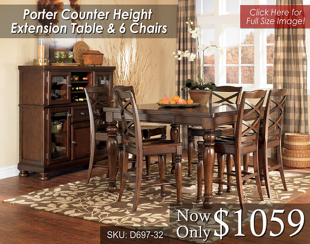 Porter Counter Ext Table 6 Chairs