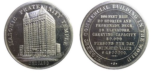 Masonic Fraternity Temple in Chicago token