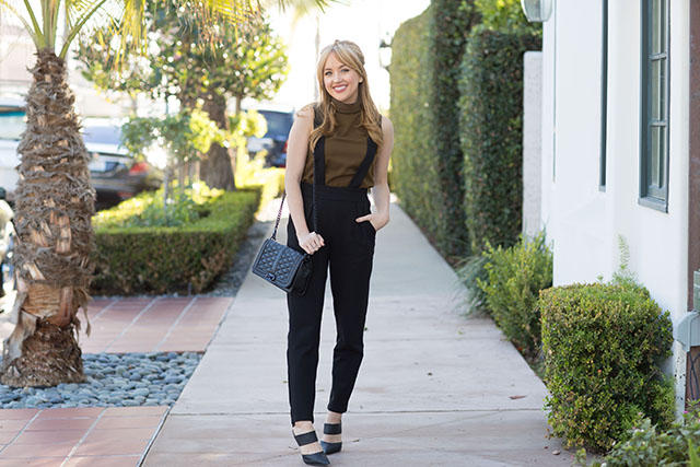 french-connection, turtleneck, chic-overalls, overalls, black-overalls, fashion, affordable-fashion, affordable-work-outfit, chic-work-outfit, work-outfit-ideas, polly-plains-roll-neck-top, lila-brace-trousers, kat-von-d-lolita-2, rebecca-minkoff, rebecca-minkoff-love-crossbody, middle-part-bangs, pointed-toe-mule-pumps, black-pumps