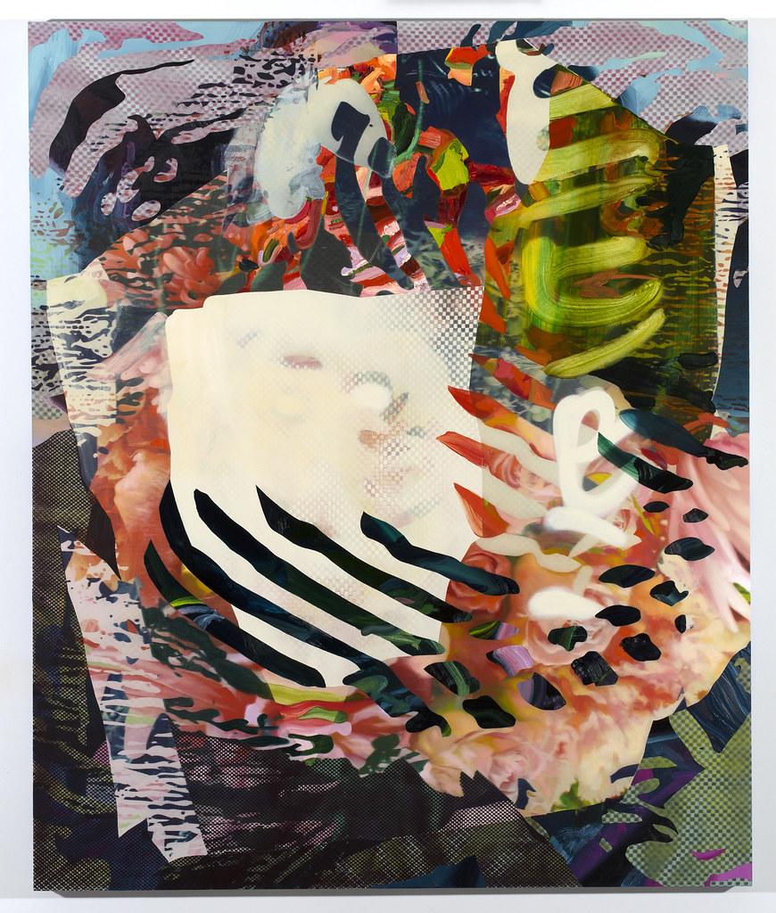 "Mystic Sieve Oil, aerosol, and UV ink on canvas. 70"" x 58"" 2015"