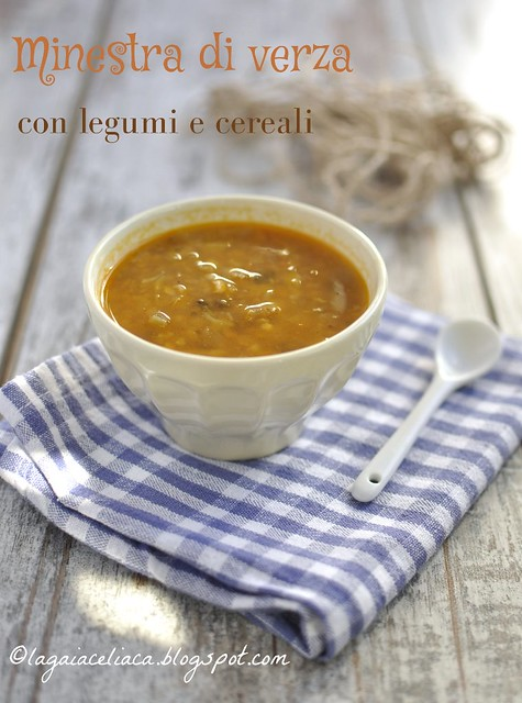 Minestra con verza, cereali e legumi (senza glutine)