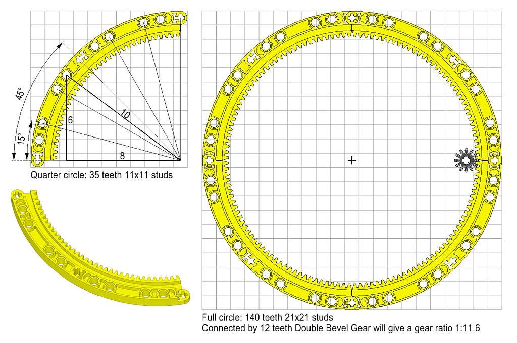LEGO Technic new part 2016H2 Quarter ring with 34 teeth
