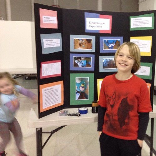 First science fair: electromagnets. (Millionth lil sis photobomb.)