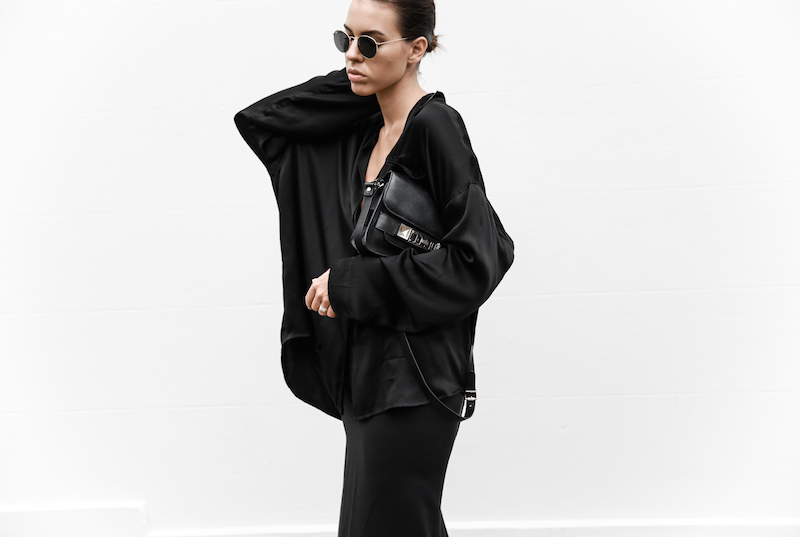 all black outfit inspo street style silk Proenza Schouler Mini fashion blogger Haider Ackermann modern legacy Instagram (2 of 7)