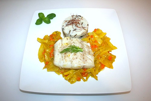 50 - Zander filet on fennel in saffron sauce with wild rice mix - Served / Zanderfilet auf Fenchelgemüse in Safransauce an Wildreis-Mix - Serviert