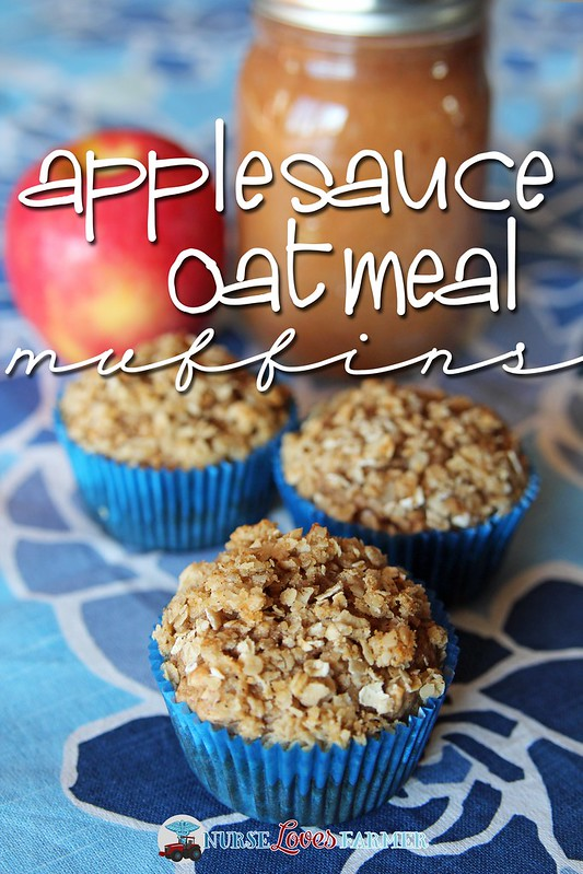 Applesauce Oatmeal Muffins. Moist, delicious and sweet with a bit of a crunchy streusel topping!