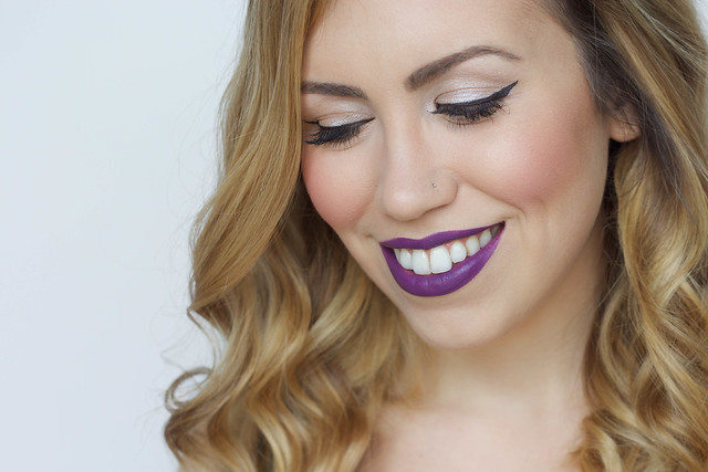 How to Wear Dark Purple Lipstick | BH Cosmetics Pop Art Lipstick Extreme Lip Color in BAM | Makeup Beauty Tutorial on Living After Midnite by Jackie Giardina