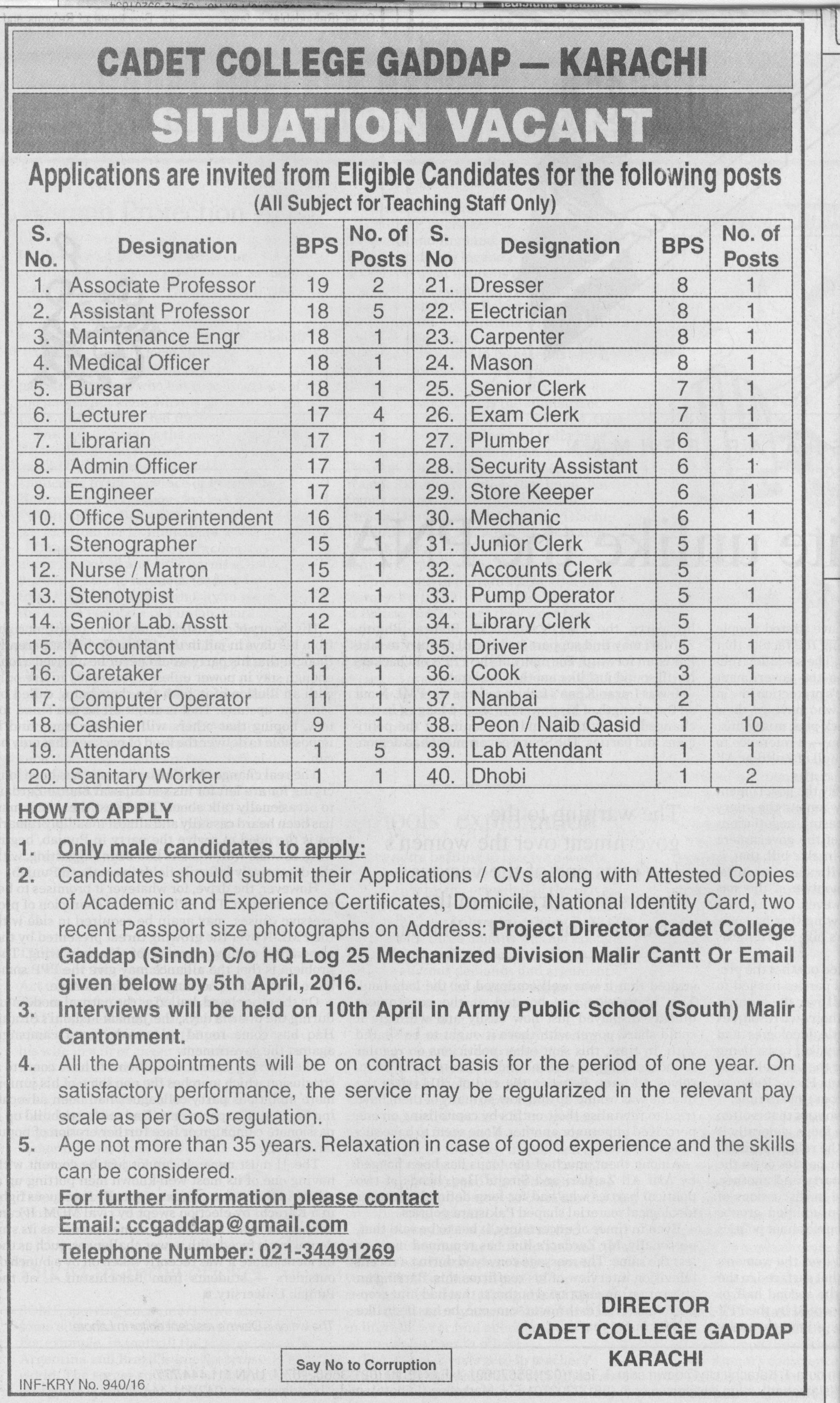 Caddet College Gaddop Karachi Jobs 2016