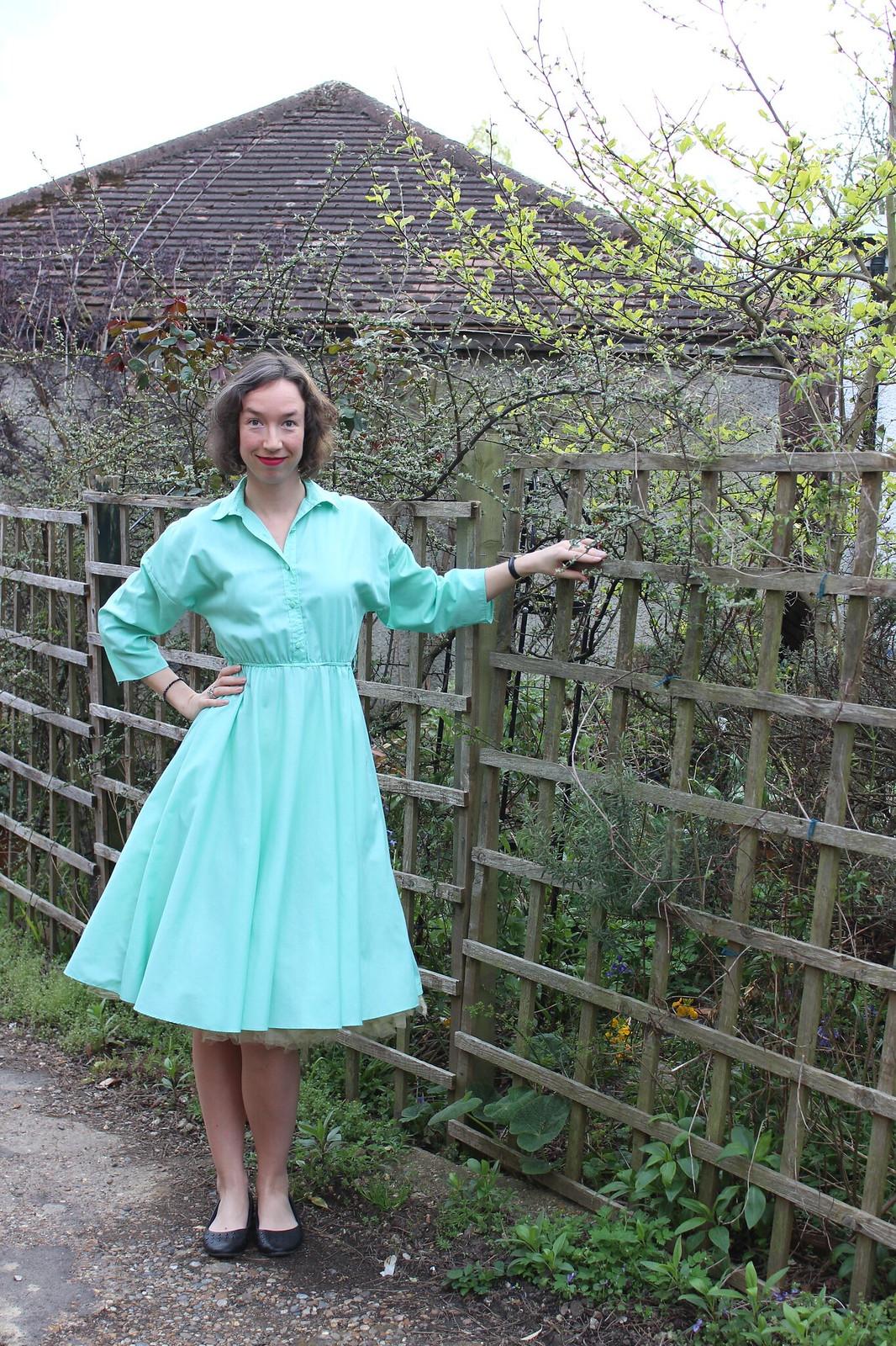 Mint green shirt dress