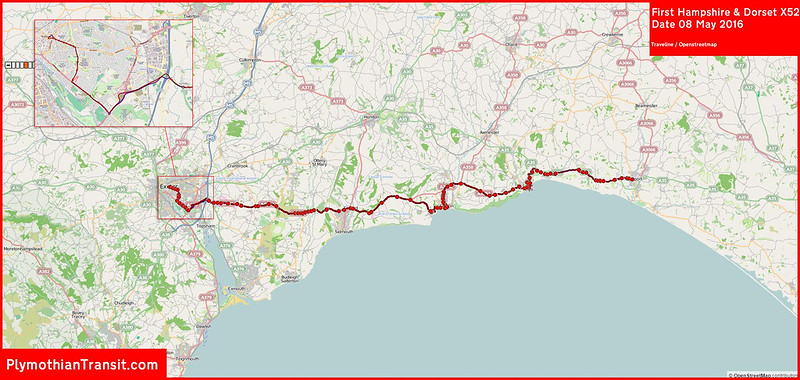 2016 05 08 First Hampshire & Dorset Route-X052 Traveline Map.jpg