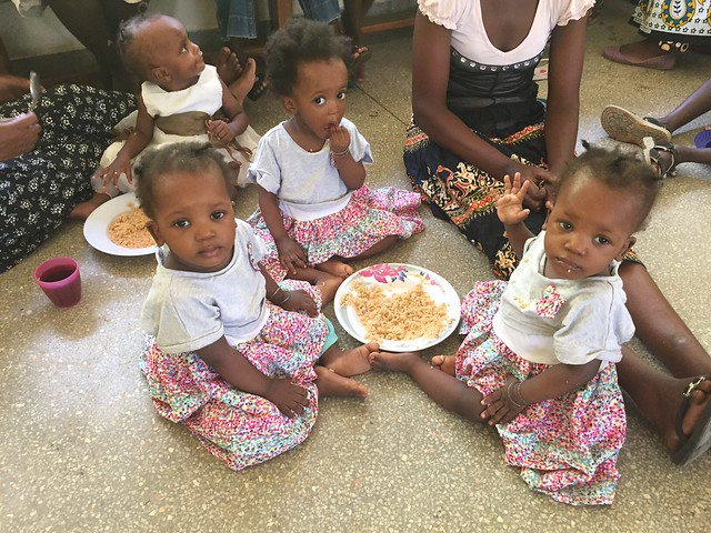 The Triplets enjoy the pilau