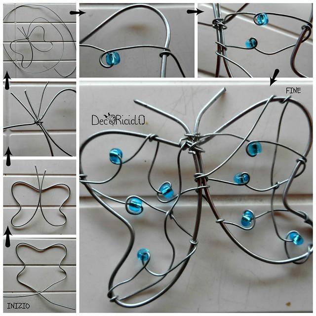 farfalla fil di ferro e perline tutorial