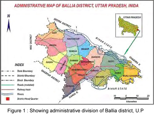 Showing administrative division of Ballia district