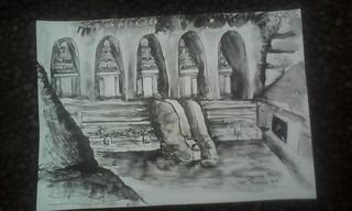 I Made Sudarsa , Gunung Kawi, 30 x 40 cm, Ink on Paper 2016
