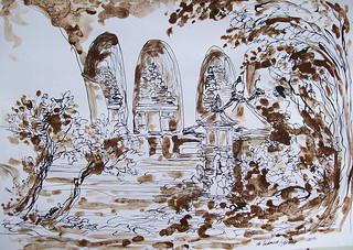 Ida Bagus Made Sudana Astika, Gunung Kawi, 30 x 42 cm, Mixed Media on Paper