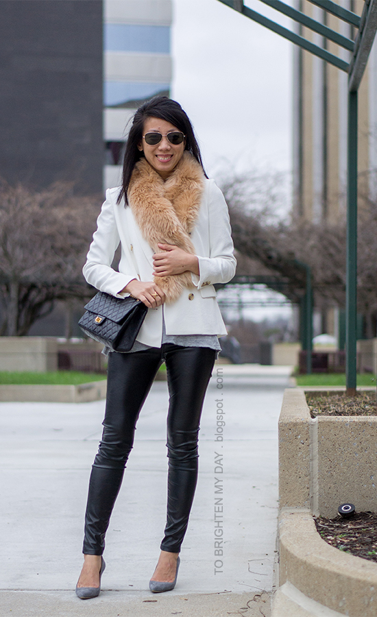 faux fur scarf, white blazer, faux leather pants, gray suede pumps