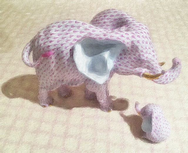 pink elephant and offspring