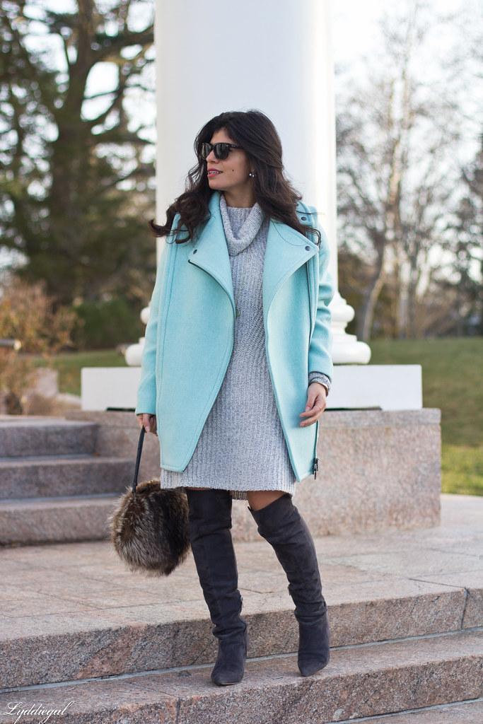 grey sweater dress, over the knee boots, fur bag.jpg
