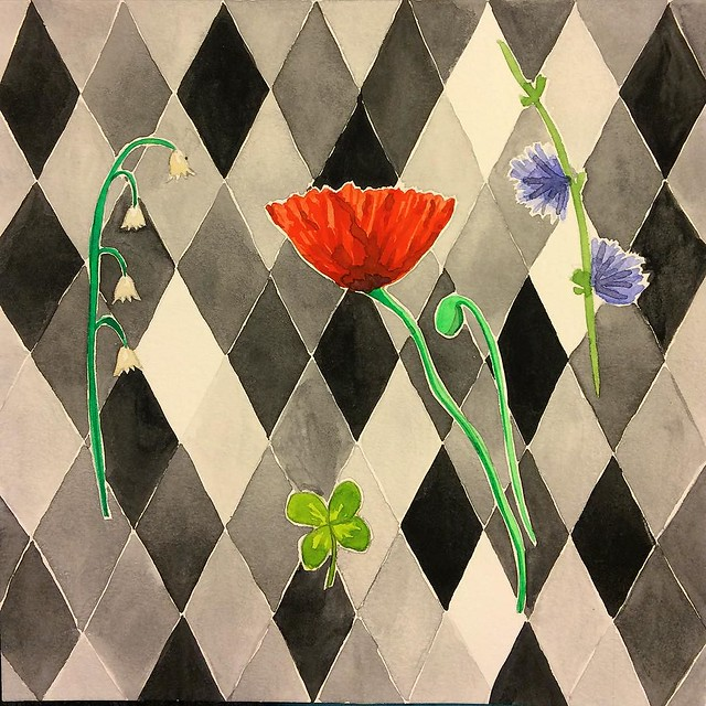 It's not finished but here is my #patternjanuary for geometric. Lily of the valley, four leaf clover, poppy and chicory. Time for bed! #robayrepatterns #letsmakepatterns #watercolor