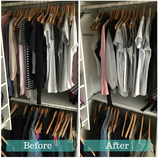 1 Before and after simplify wardrobe - tops and bottoms